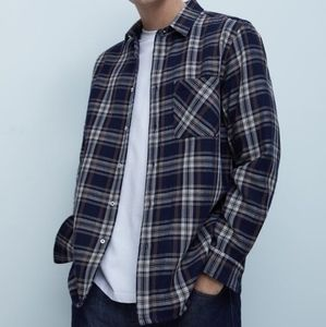 Zara Navy Plaid Textured Check Overshirt